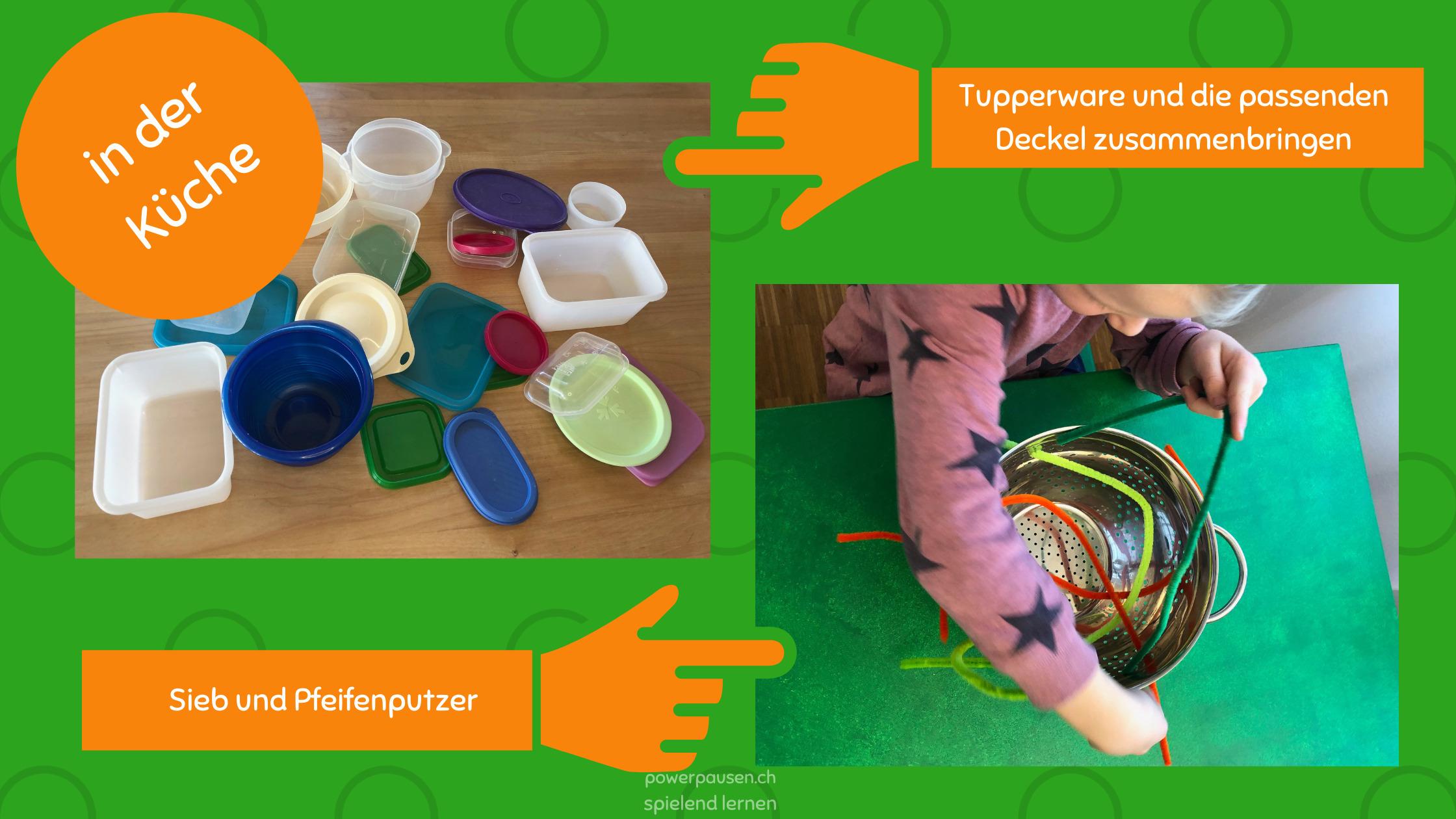 Kleinkind in Küche beschäftigen